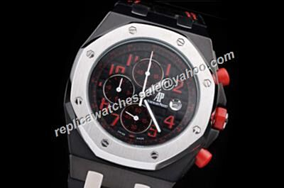 AP Offshore Singapore Limited Red Crown Black Pvd Chronograph Silver Bezel Watch