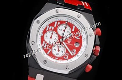 AP Offshore Singapore F1 2008 Offshore Ltd .Edition Chronograph Red Leather Strap Men Faux Watch