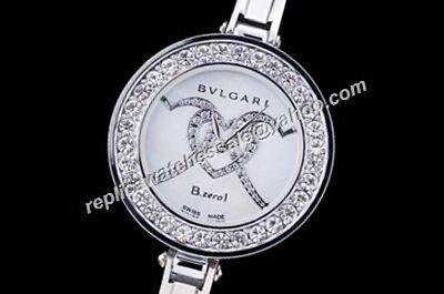 Bvlgari B.Zero1 Ladies BZ22C6HSS/2 Silver Bangle 3 Diamonds Hearts Pattern Watch