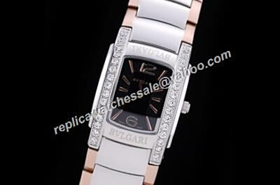 Bvlgari ASSIOMA AA26BSS D Black Diamonds 2-Tone Steel Bangle Watch