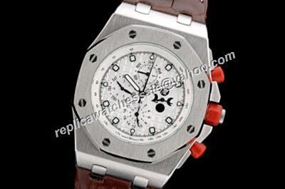 AP Offshore Singapore 2008 Ltd.Edition Moonphase Annual Calendar Chronograph Silver Watch
