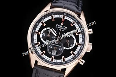 Zenith El Primero 36'000 VPH Chronomaster Black Date Auto Leather Watch Replica