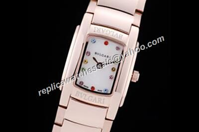 Rep Women's  Bvlgari ASSIOMA D Color Diamonds  18K Rose Gold White Watch