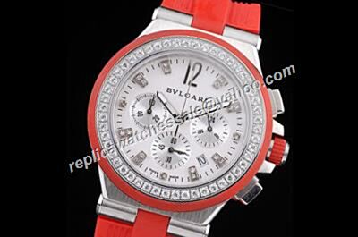Bvlgari Diagono Chronograph  Red Rubber Strap 24 Hours Watch