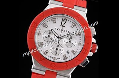 Bvlgari Diagono Chronograph Red Bezel Silver Diamond Markers Watch