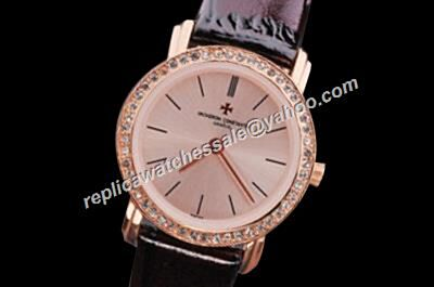 Ladies Vacheron Constantin Diamonds  25558/000G-9758 Traditionnelle Small Fake Gold Watch