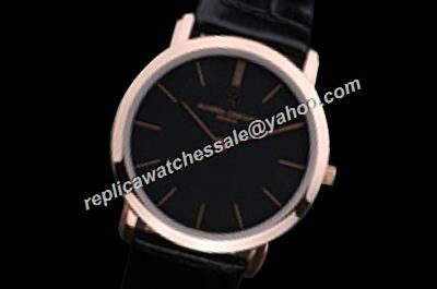 Vacheron Constantin  Rose Gold Bezel Patrimony Quartz 40mm Black Watch