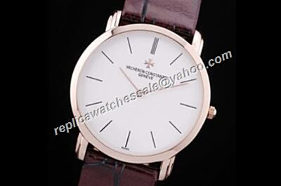 Vacheron Constantin 40mm Patrimony  Quartz Brown Leather Strap Business mens Watch