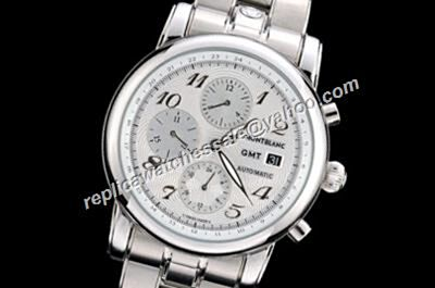 Montblanc 7067 GMT Chronograph Star  Automatic Men's White  Gold S/Steel Date Watch