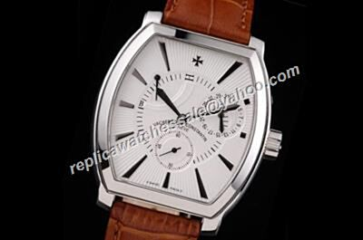 Vacheron Constantin Malte Power Reserve Black Hands Silver SS Tonneau Watch