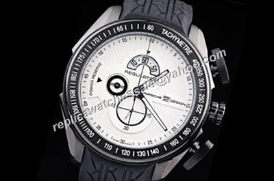 Porsche Design Regulator Power Reserve Black Bezel Chronograph Rubber Strap Watch