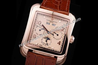 Vacheron Constantin Moonphase Perputal Calendar Historiques 86300000R-9826 Rose Gold Square Watch