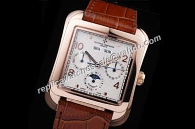 Vacheron Constantin Moonphase Historiques Perputal Calendar 43mm Leather Strap Casual Watch