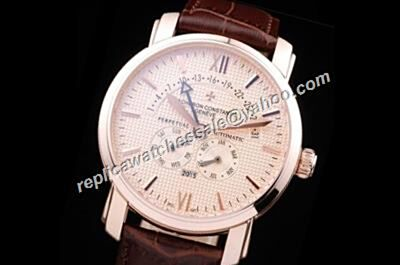 Vacheron Constantin Perputal Calendar Patrimony Rose Gold Quartz Leather Strap Watch