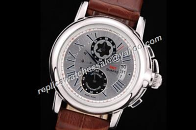 Montblanc Gmt Star Chronograph Date 41mm Silver Men's Watch Faux