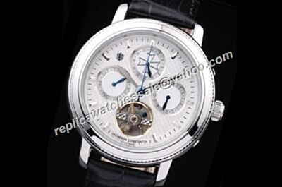 Replica Vacheron Constantin Patrimony Tourbillon 24 Hours Day Date Silver Watch
