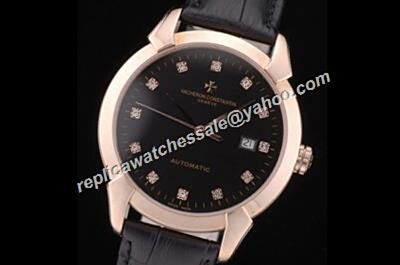 Vacheron Constantin Diamonds Black Face Patrimony Fake Quartz 40mm Watch CVC049