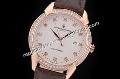 Swiss Vacheron Constantin Diamond Set Patrimony Date Rose Gold Case Watch Cvc048