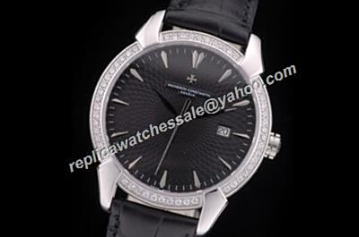 Fake Swiss Vacheron Constantin Diamonds Beael Black Patrimony Date 44mm Luxury Watch CVC017