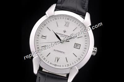 Rep Vacheron Constantin Patrimony Date Black Leather Strap Swiss 40mm Watch CVC053