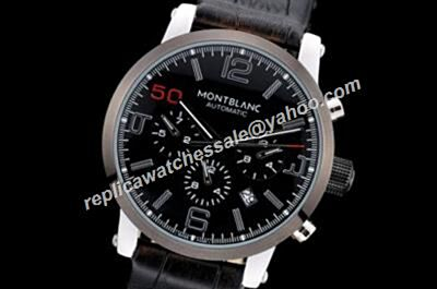 Montblanc U0102365 Carbon Black Bezel Timewalker Chronograph Boy's 43mm Day Date Watch