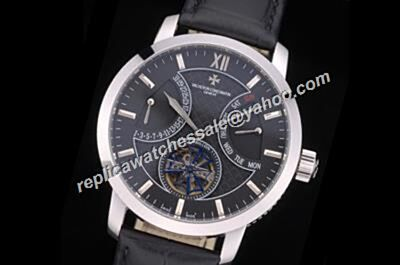 Counterfeit  Vacheron Constantin Traditionnelle Tourbillon Black Patrimony Day Date Watch