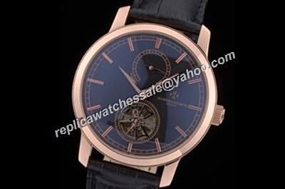 Vacheron Constantin 7 Traditionnelle 14-Day Tourbillon Rose Gold Black Watch Fake
