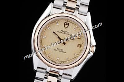 Tudor Classic 21013-62583 Date Daimond 18k Gold Fluted Bezel Auto Watch