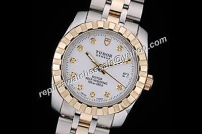 Ladies Tudor Classic Ref  15833-50133 26mm Diamonds Markers Date Gold Watch
