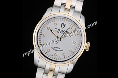 Tudor Classic Gold  Crown men's Dual Scales Clone Swiss Diamond Date Watch