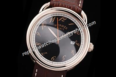 Replic Hermes Arceau Ref AR8670220M/HA Swiss Auto Black Date Gents Watch HMS009