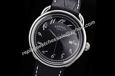 Men Swiss Made Hermes Arceau Automatic TGM 41mm Ref 035185WW00 Black Watch Rep HMS024