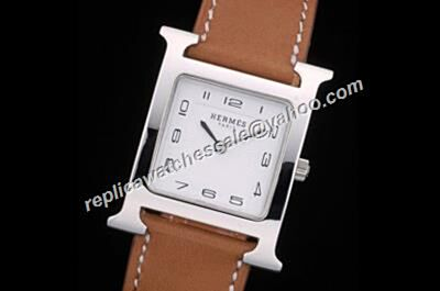 Ladies Hermes Ref W036784WW00 Heure H  Brown Leather Strap Fake Quartz Watch