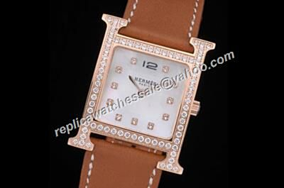 Hermes Heure H Diamond Encrusted Bezel Women's Rose Gold Wristwatch  Duplicate