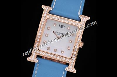 Hermes Paris Heure H TGM 26MM Quartz Diamond Scale Girls Watch