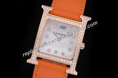 Hermes Heure H 18K Rose Gold Case Ladies Diamonds Bezel Watch Replica