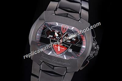 Tonino Lamborghini  Chronograph Red Hand Quartz Carbon Black Watch