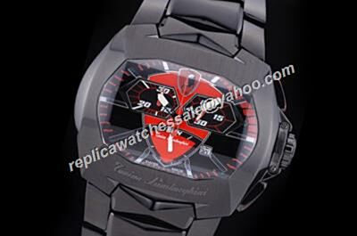 Clone Tonino Lamborghini Chrono GT1 850b Carbon Steel Red-Black 2 Tones Watch