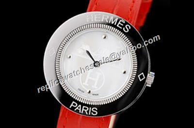 Hermes Passe Passe White Gold Fake Red Leather Diamond Markers Watch
