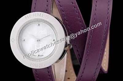 Ladies Hermes Passe Passe Purple Leather Strap Clone White Watch