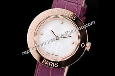 Ladies Hermes Passe Passe Special 32mm Wine-Red Leather Strap Faux Watch