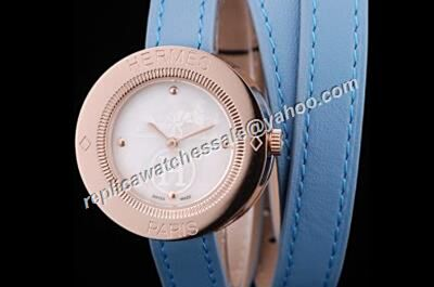 Hermes Passe Passe 18k Rose Gold Bezel Blue Band 32mm Diamond Watch