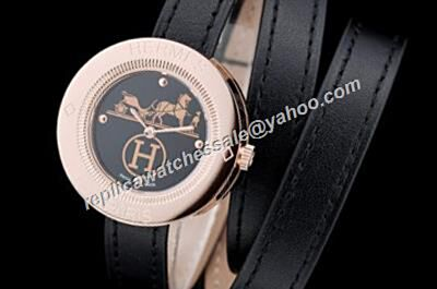 Hermes Passe Passe Lady Rose Gold Carved Pattern 32mm Quartz 2-Tone Watch