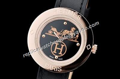 Hermes Passe Passe 18k Rose Gold Bezel 32mm 2-Tone Face Watch
