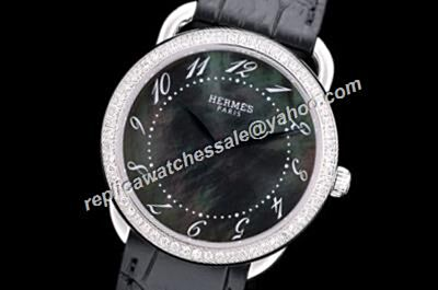 Hermes Arceau Cheap Replica Ladies White Gold Diamond Mop No Date Watch