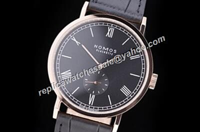 Nomos Tangomat Black  Leather Strap NO Date Rose Gold Rep Watch
