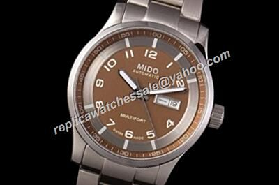Mido Multifort Automatic Mne's 42mm Brown Steel Bracelet Watch Rep