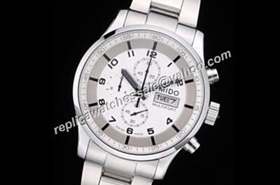Mido Multifort Chrono 18K White Gold 44mm Ref M005.614.11.037.01 Watch Replica