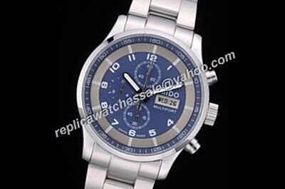 Cheap Mido Multifort Chrono Valioux White Gold Band 2-Tone Blue Watch