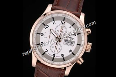 Gents Mido Multifort Chrono 44mm Copy Day Date valjoux Brown Leather Strap Watch